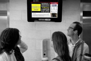 Pattison TV screens at elevators